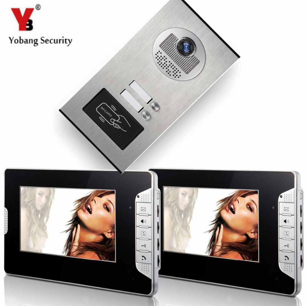 YobangSecurity Apartment Door bell Chime 7Inch Video Door Phone Doorbell RFID Access Camera Intercom System 1 Camera 2 Monitor door intercom video cam doorbell door bell with 4 inch tft color monitor 1200tvl camera
