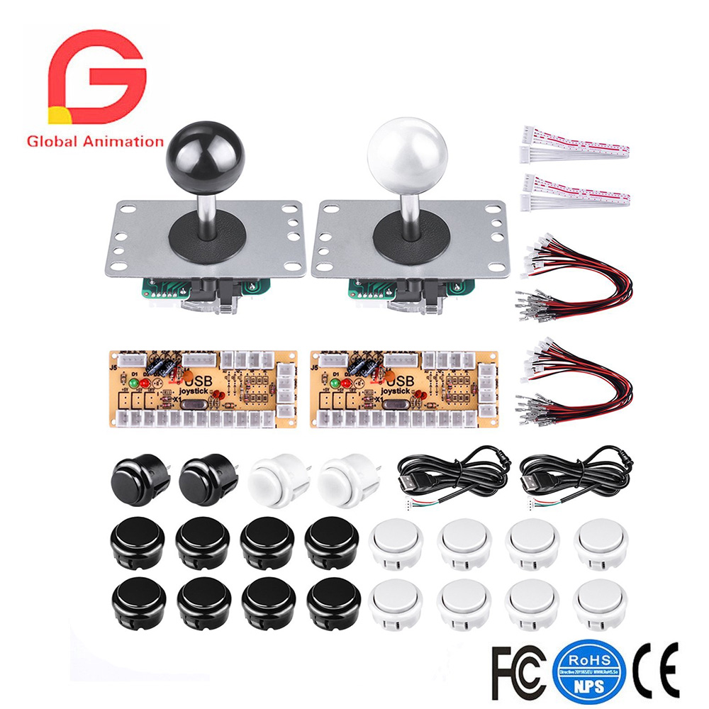 2 Players DIY Arcade Game Button and Joysticks Controller Kits for Rapsberry Pi and Windows,2x 5 Pin Joysticks,20x push buttons game controller joysticks for iphone ipad tablets more black transparent 2 pcs