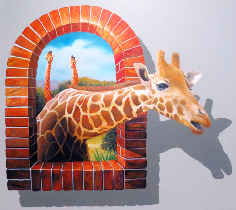 Hand Painted The Deer Out Of Window 3D Oil Painting Living