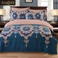 Polyester/Katoen Bed Linnen China Satijn Bed Cover Queen Size Bloemen Dubbele Beddengoed Koning Laken
