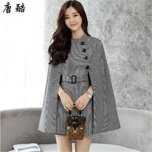 Tang cool 2018 NEW Fashion Womens Woolen Cloak Blend Loose Autumn Winter Cape Coat Poncho Cardigan