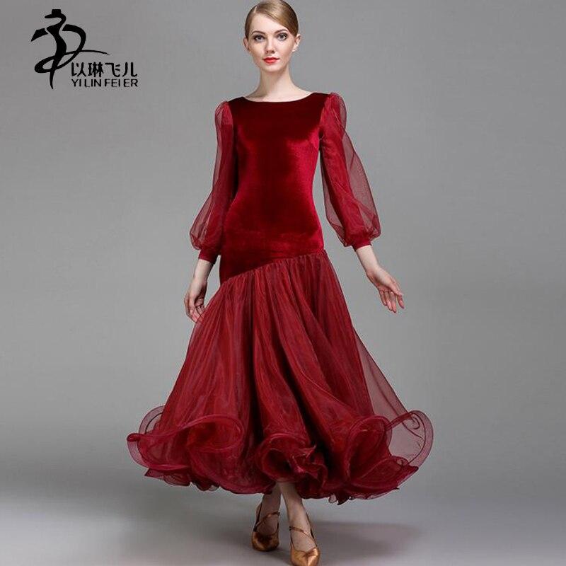 Adult Black Ballroom Dresses Velvet Ballroom Waltz Competition Standard Dresses Ladies Tango Foxtrot Dance Costume