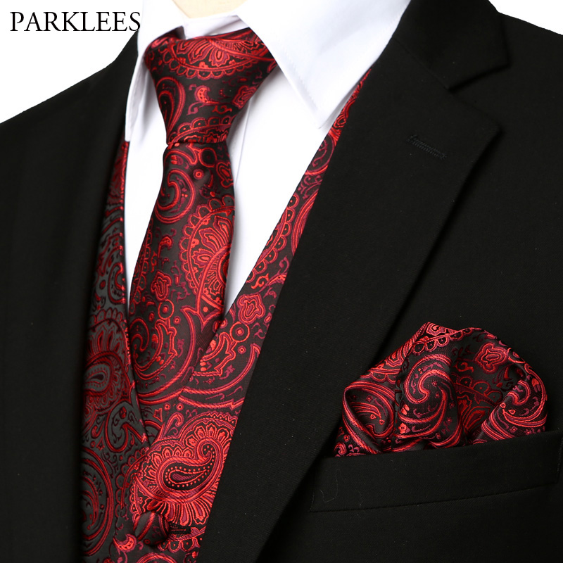 Wine Red Floral Jacquard Waistcoat Men 3pcs Vest Necktie Handkerchief Set 2019 Brand New Paisley Dress Vest For Wedding Party