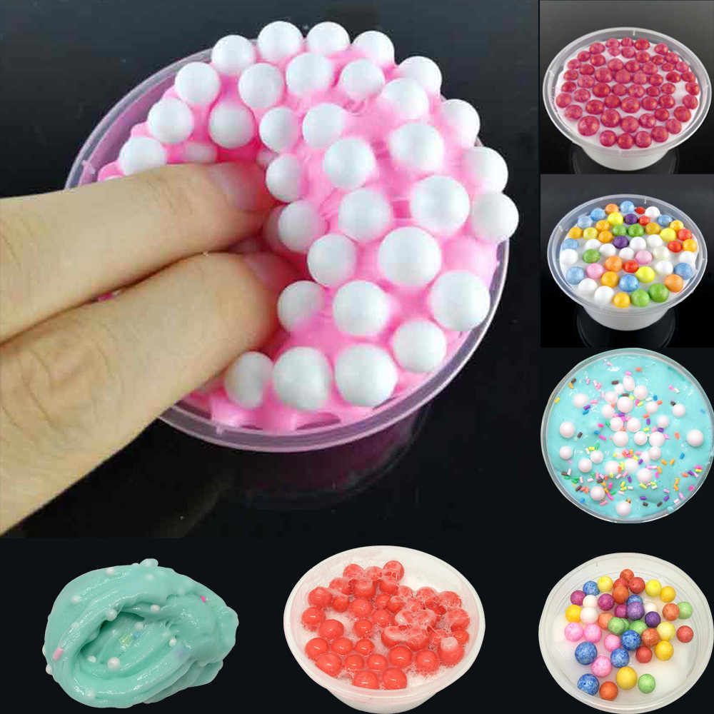 Rainbow Fluffy Crunchy Foam Beads Kids Anti-stress Toys Slime Relax Gifts  Plasticine Toys