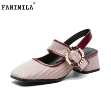 FANIMILA Stylish Women Genuine Leather High Heel Shoes Square Toe Metal  Decoration Summer Pumps Office Women 3377a8534e8e