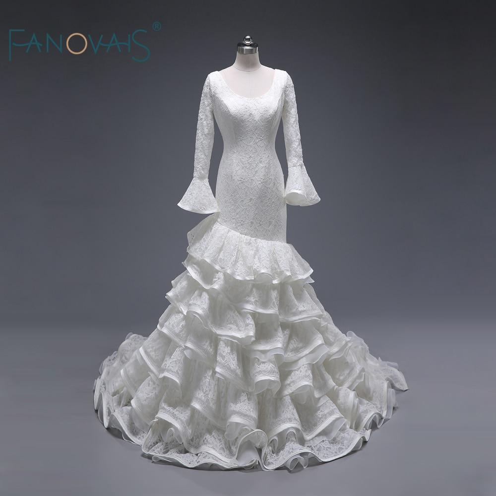 2d95ec1e6d Real Ruffled Skirt Princess Long Flare Sleeves Fabulous Ruffle Lace Bridal  Wedding Dresses Vestido De Noiva Custom Made ASWD129 ~ Super Sale July 2019