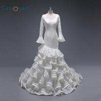 Bất Xù Váy Công Chúa Dài Đuốc Sleeves Fabulous Ruffle Lace Bridal Wedding Dresses Vestido De Noiva Custom Made ASWD129