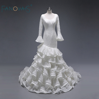 Real Ruffled Skirt Princess Long Flare Sleeves Fabulous Ruffle Lace Bridal Wedding Dresses Vestido De Noiva Custom Made ASWD129