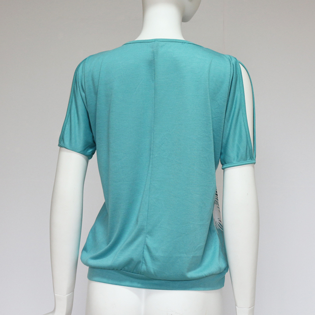 Blusas Femininas 2017 Women Summer Blouses Short Sleeve Blouse Shirts Feather Print Casual Shirt Women Tops Plus Size S-5XL