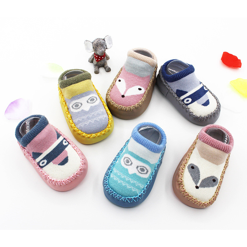 Cotton Baby Socks Unisex Cartoon Baby Socks Newborn Anti Slip Baby Socks With Rubber Soles