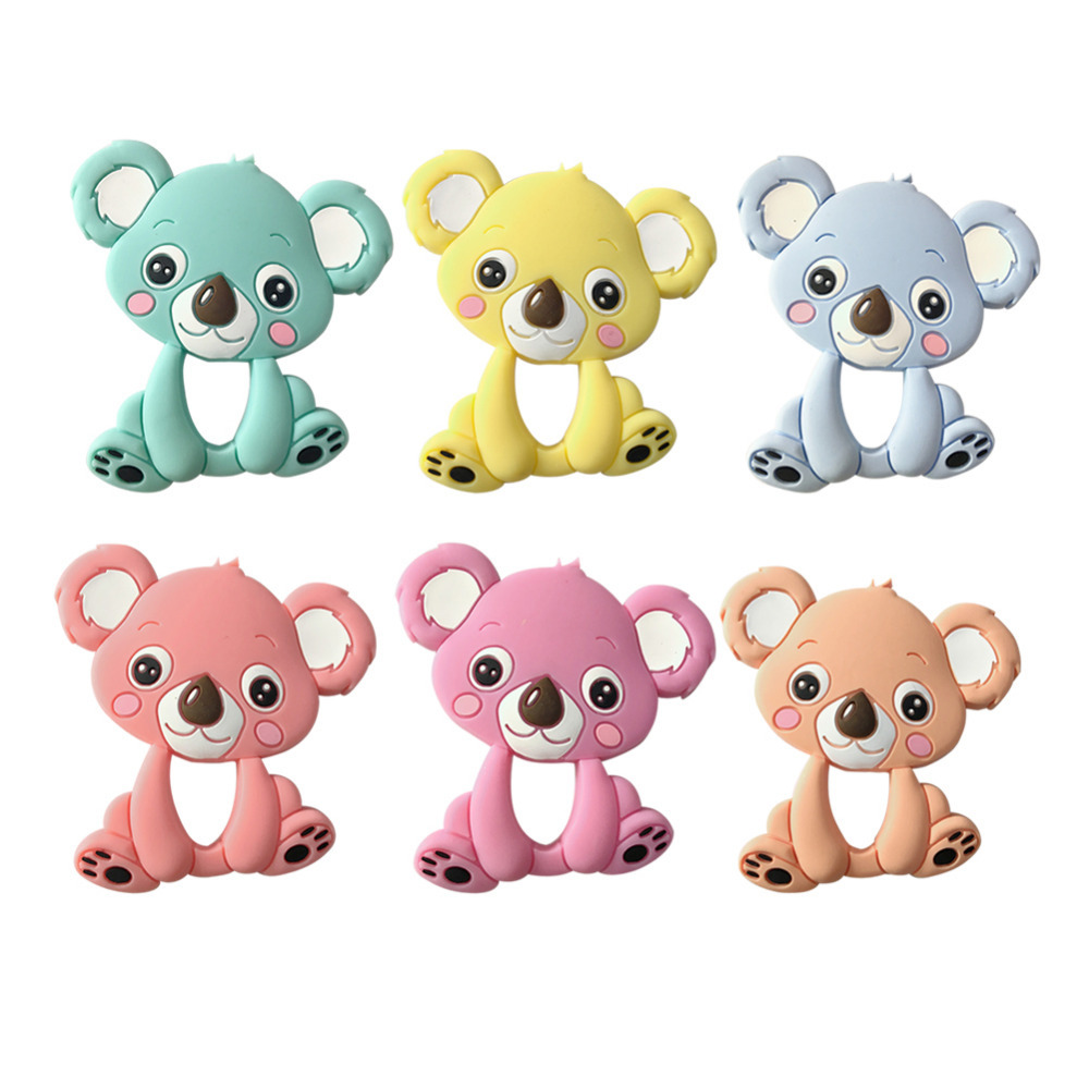 Cute Baby Teether Cartoon Koala Shape Infant Teethers Toddler Newborn Silicone Chew Toy Dental Care Safe BPA Free Teeth Toy