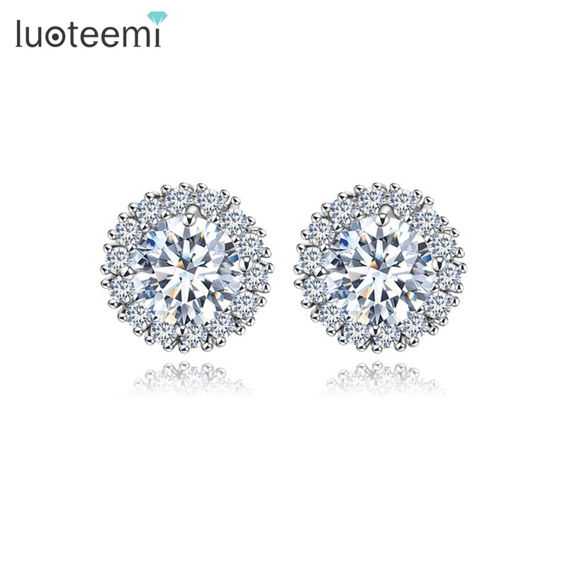 LUOTEEMI New Fashion Crown White Gold-Color Stud Earrings Girl Party Brincos Prong Clear Cubic Zircon Crystal for Women Jewerly