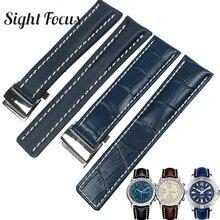 송아지 가죽 가죽 시계 밴드 Breitling 시계 스트랩 20mm 22mm 24mm 가죽 팔찌 블랙 브라운 블루 벨트 Watchband Masculino
