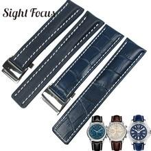 Calfskin correas de reloj de cuero para Breitling, correa de reloj de 20mm, 22mm, 24mm, pulsera de cuero negro, marrón, azul, correa de reloj Masculino