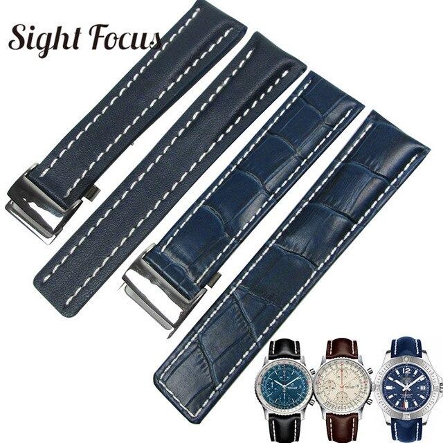 Calfskin pulseira de relógio de couro, pulseira de couro para respiração 20mm 22mm 24mm, pulseira de couro preto, marrom, azul pulseira masculina