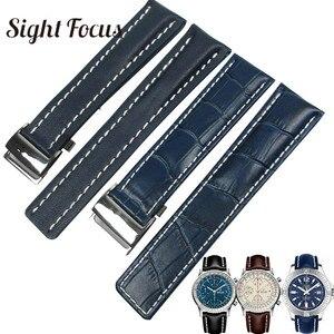 Image 1 - Skórzane paski do zegarków ze skóry cielęcej do paska do zegarków Breitling 20mm 22mm 24mm skórzana bransoletka czarny brązowy niebieski pasek do zegarków Masculino