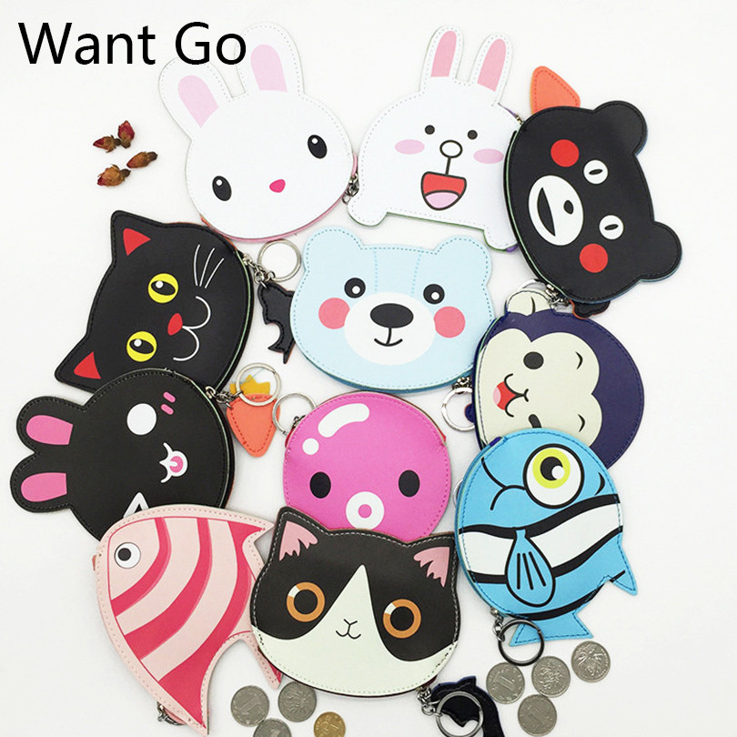Want Go Variety Designs Women Animal Print Coin Purse Leather Kawaii Lady Coin Holder Bags Small Pouch Female Mini Wallet Purses thinkthendo 3 color retro women lady purse zipper small wallet coin key holder case pouch bag new design