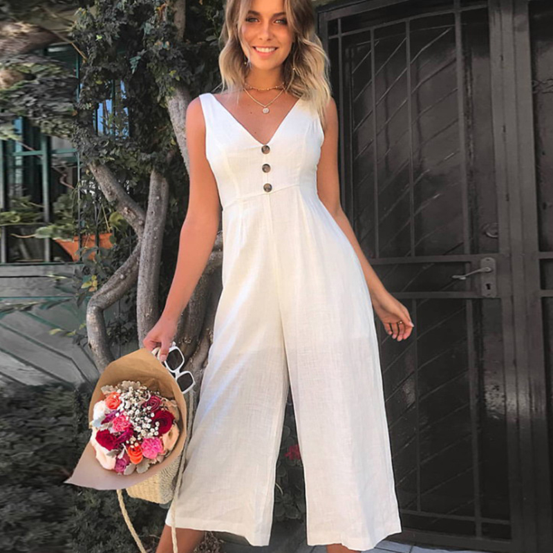 Umeko Sleeveless Jumpsuit Casual V Neck Backless High Waist Boot Cut Flare Overalls With Button Bandage Bodycon Salopette Femme