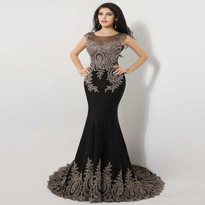 Black Green Mermaid Evening Dresses Plus Size 2 26W Luxury Gold Lace ...