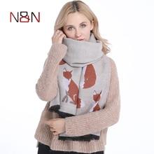 Winter Women Cashmere Scarf Designer Fox Printed Thicken Warm Cape Long Shawl Brand Shawls and Scarves Warm Pashmina Echarpes