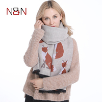 Women Cashmere Scarf Designer Fox Printed Women Thicken Warm Cape Long Shawl Brand Shawls And Scarves