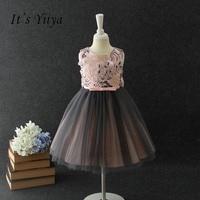 It's yiiya New Bow Zipper Flower Girl Dress Flowers Kid Child Cloth Pattern Ball Gown Princess For Party Wedding Girl Dress S264