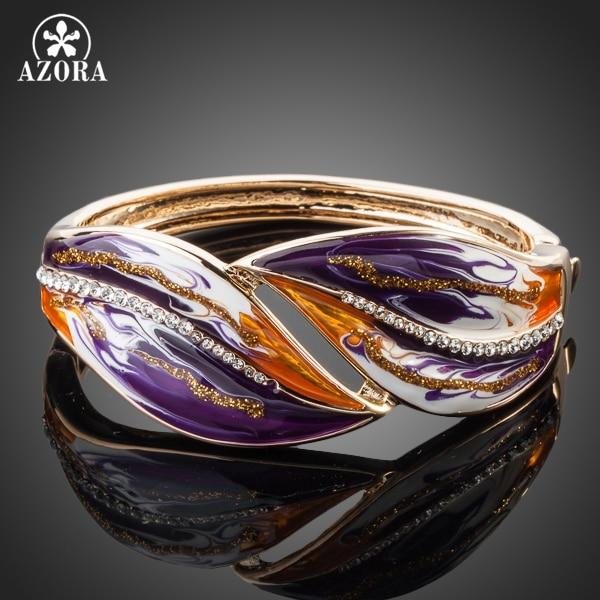 AZORA Gold Color Stellux Austrian Crystal Multicolour Oil Painting Pattern Bangle Bracelet TB0013