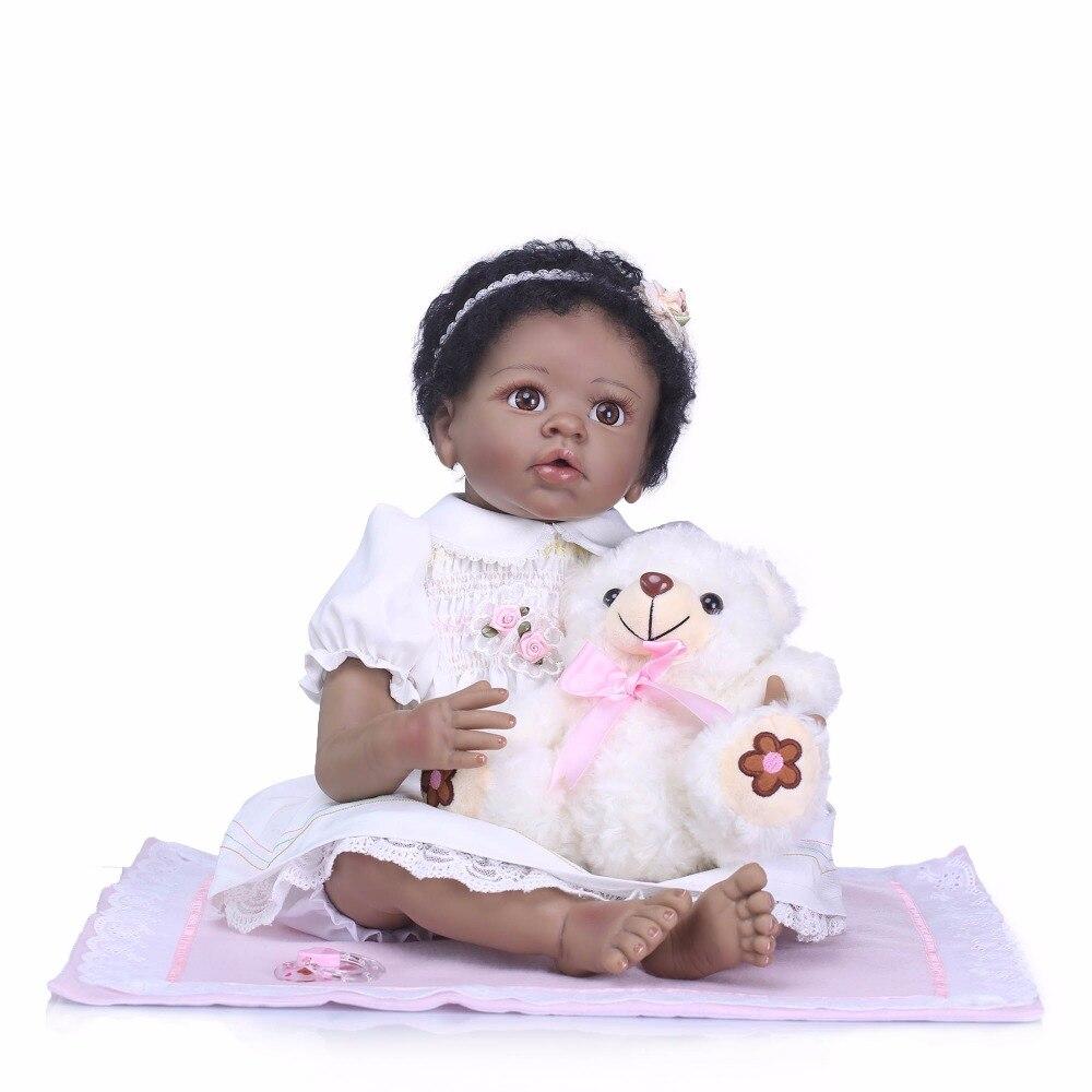 NPK 22Inch Dolls 55cm Soft Silicone black Baby Reborn Dolls With Cotton Body Lifelike Doll Reborn Babies Toys for Girls plamatrs цена