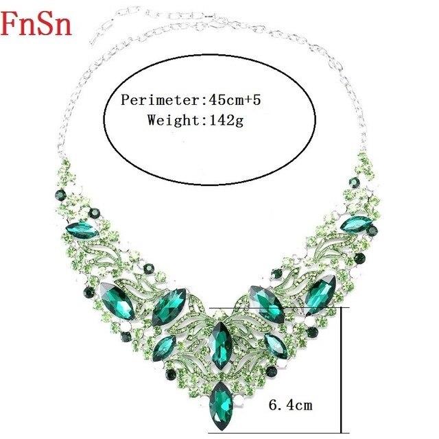 Fnsn Hot nouveaux ensembles de bijoux de mode cristal Chokers collier ensemble coloré strass cadeau de mariage pour les femmes mariées fête de bal S167