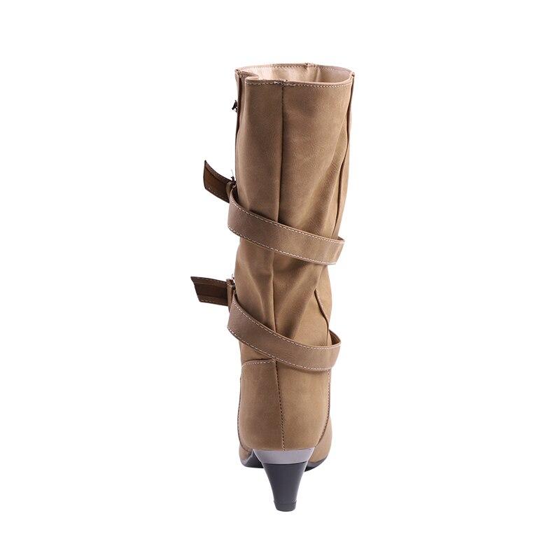 4c39f2001f3 LALA IKAI Women Rain Boots Hunter Zipper Med Heel Waterproof PU Buckle  Patchwork Over The Knee Boots 1106