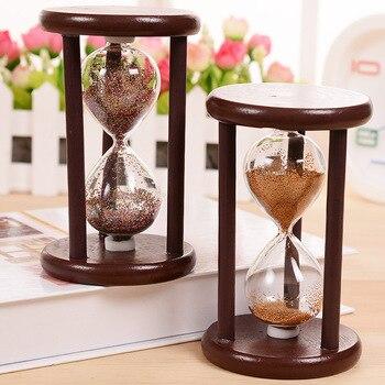Vintage bricolaje reloj de arena de estilo antiguo reloj de arena Calculagraph cepillado hacer té decoración de jardín de madera Saat temporizador 7x7x12 CM