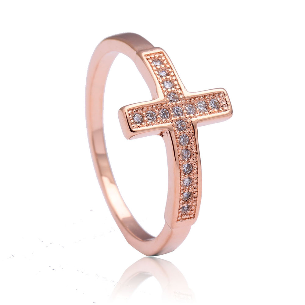 Cross rings for women engagement jewelry wedding gift classic luxury     Cross rings for women engagement jewelry wedding gift classic luxury new  large rose Gold Color cz promise promise ring in Rings from Jewelry    Accessories