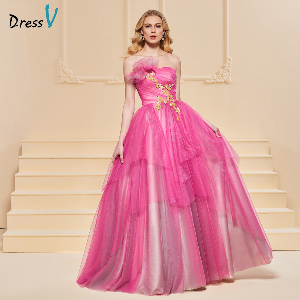 Dressv Evening Dress A Line Elegant Sleeves Strapless Floor-length Appliques Wedding Party Formal Dress Evening Dresses