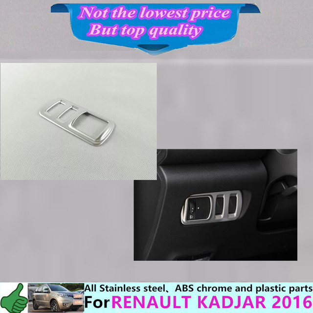 Free shipping for Renault Kadjar 2016 car stick cover ABS Chrome front head non-slip antiskid switch Button trim frame lamp