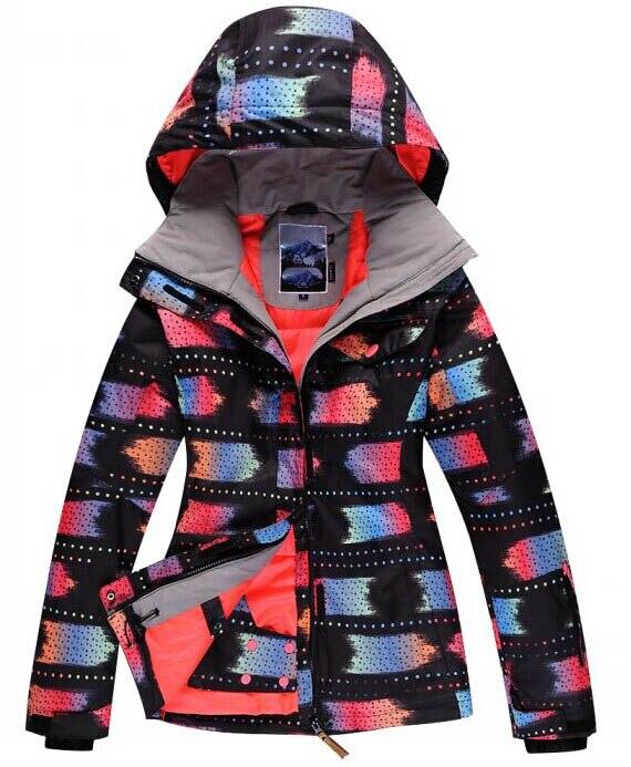 Prix pour Livraison gratuite Chaude Noir Femmes Ski Vestes Lady Snowboard Costume Vêtements 10 K Imperméable coupe-vent Thermique D'hiver Vêtement Extérieur