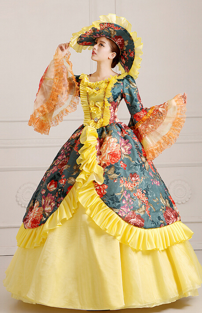 Deluxe Meval Renaissance Victorian Ball Gown Wedding Dress Stage Costume With Hat