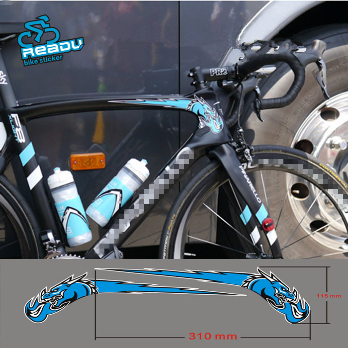 READU 11.5 X 31CM Stickers Bisiklet Aksesuar Road Bicycle Frame Haed Tobe Blue Stickers 3M High Quality Bike Mtb Stickers