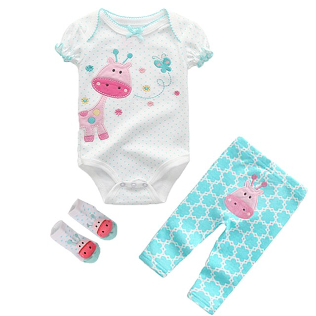 3Pcs/lots Baby boy clothes sets 6-12 Month Baby Girl Rompers Super cotton Bodysuits+ Pants +baby Socks newborn Clothing