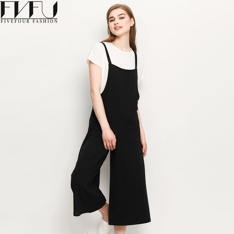 New Fashion 2018 Pants Women Summer Autumn Elegant Black Bib Pants Solid Color Loose Casual Wide Leg Bib Pants Plus Size