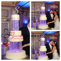 2 tier Round Luxury Acrylic Crystal Cake Strands wedding chandelier cake stand Centerpieces of Party Decoration