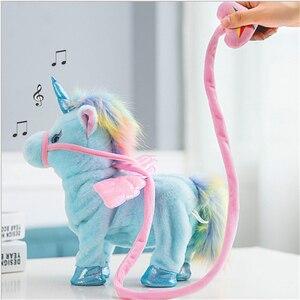 Image 1 - Jeriwell 35cm חשמלי הליכה Unicorn בפלאש מצחיק צעצוע מדבר צעצוע חד קרן שירה מוסיקה ממולא צעצוע לילדים ילדים מתנה