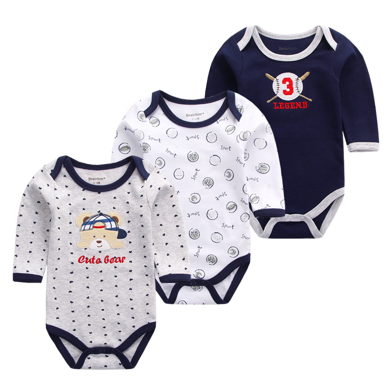 3PCS Baby Clothes Long Sleeve Cotton Baby Rompers Clothing Overalls for Newborn Baby Boy Girl Romper O-Neck Cartoon Bear Costume baby rompers o neck 100