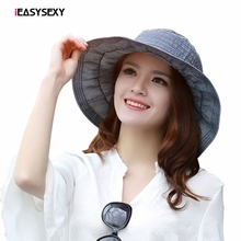 iEASYSEXY Brand 2017 Korean Style Striped Summer Sunscreen Sunshade Cool Sun Hat Women Adult Casual Solid