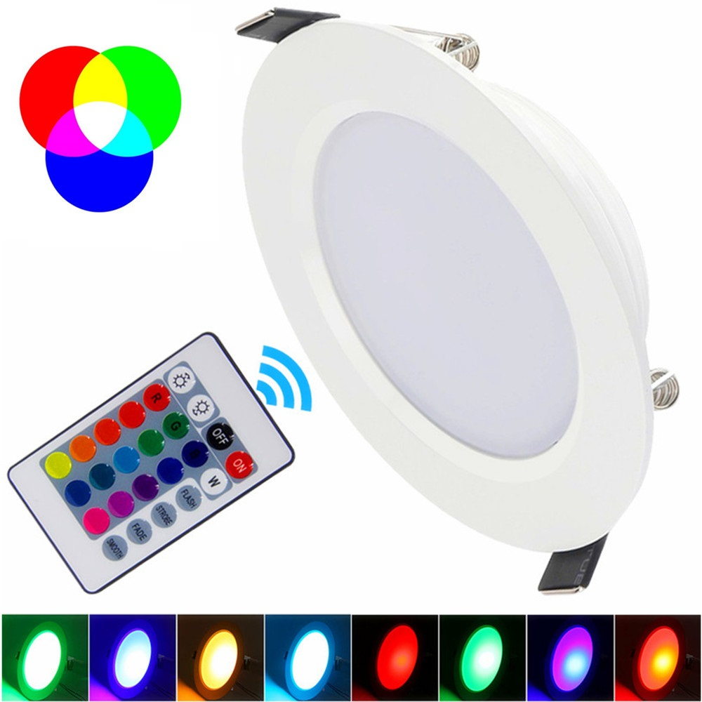 Promotion 5W 10W LED RGB bulb AC85~265V LED RGB DownLight LED Ceiling Lamp 16Colors + Romote Controller Best Limited Offer 5w 10w rgb rgbw led ceiling panel light ac85 265v embedded recessed downlight bulb changable with 24 key remote control