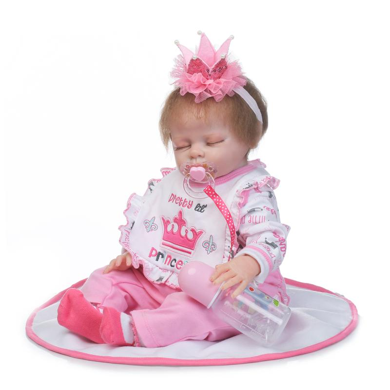 55cm New Soft Silicone Reborn Baby Girl Doll Toy Lifelike Newborn Babies Doll Birthday Gift Girl Brinquedods Play House Toy цена