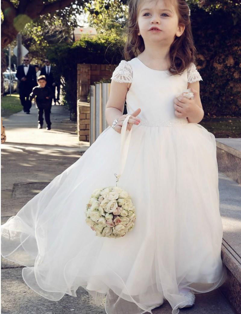 Vintage New Flower Girl Dress Tulle Belt Short Sleeves Pageant Ball Gown Custom Made White Ivory Free Shipping
