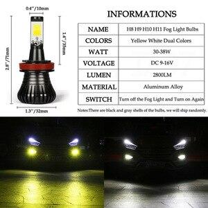 2 шт. Автомобильные LED H8 H9 H11 Противотуманные фары для вождения белый желтый двойной цвет вспышка B3 HB4 9005 9006 H27 880 881 Автомобильные фары Стайлинг...