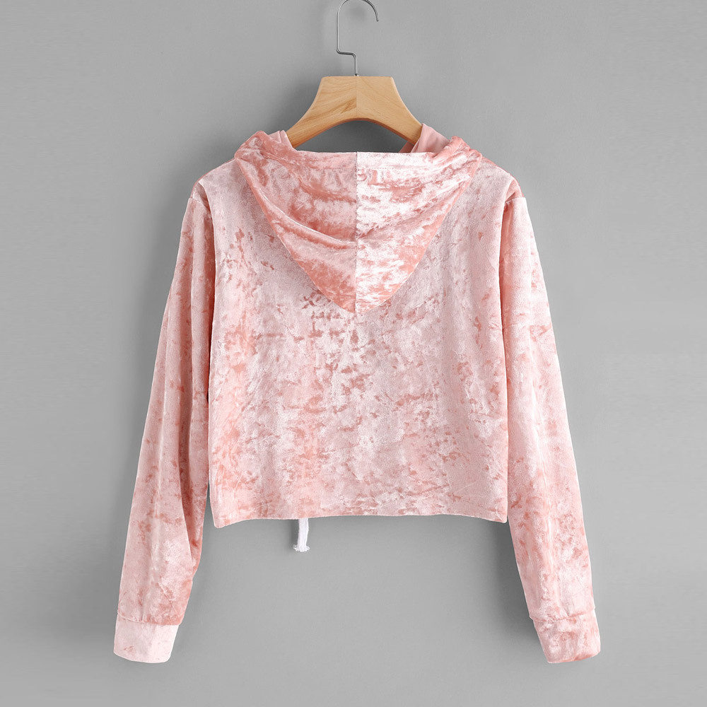 Pink Velvet Hoodies Women Hood 2019 Autumn Sweatshirt Long Sleeve Cropped Hoodie Sweatshirts Jumper Pullover sudaderas de mujer