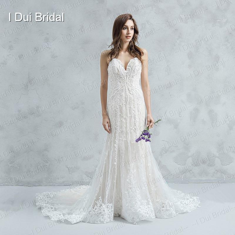 Spaghetti Strap Sheath Bridal Gown Luxury Beaded Unique Lace