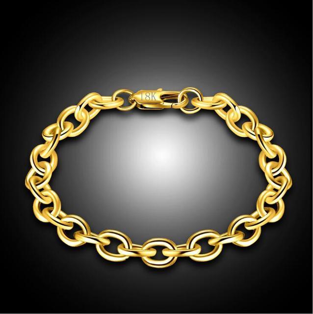 1 sztuk 8mm Big Chunky mężczyzna kobiet 585 złoty kolor Link Rolo łańcuchy bransoletki Pulseiras de Ouro biżuteria o długości 20 cm